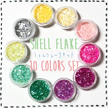 (2440) シェルフレーク 【10色セット】 カラー シェルチップ レジンやネイルの封入素材に