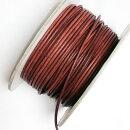 (LS77)【副資材】高品質レザーストラップ丸革ヒモブラウン3mm幅本革テープコード10cmカット売り皮紐