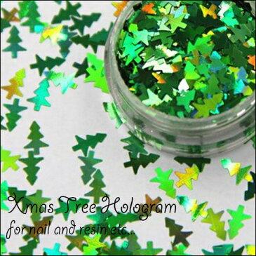 (1609) ホログラム クリスマスツリー グリーン モミの木 Xmas 0.3g入り レジンやネイルにオススメ♪