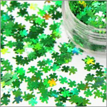 (2128) ホログラム クローバー 幸運の四つ葉 グリーン シャワー レジンやネイルの封入れ素材に