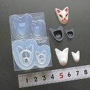 (S991)シリコンモールド和風お面キツネ犬猫アニマルお祭り2サイズ立体型レジンや樹脂粘土にミニチュア雑貨