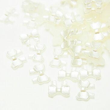 ★(1860) 【ミニチュアパーツ】リボン クリームホワイト パール ネイルサイズ 30個入り