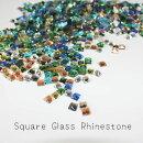 (r45)【ミニチュアパーツ】スクエアガラスラインストーンColorMIX30粒セット