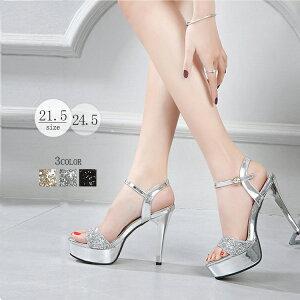 「送料無料」キャバ  靴 サンダル レース フォーマルシーン ヒール  小さいサイズ 人気 ビッグサイズ キラキラ 長脚効果 疲れない デート(xz106)