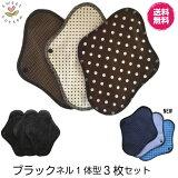 すぃーと・こっとん布ナプキンブラックネル一体型布ナプキン昼用3枚セット(チョコ)