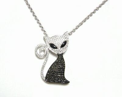 【予約】マイクロセッティングセレブ猫計1.54ctブラックダイヤネックレス&ブローチ】【ネコ,白猫,ダイヤニャンコ】