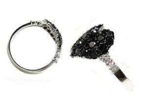 ラインフィットパヴェハート計1.00ctブラックダイヤモンドリング