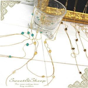 2-カットストーンロングネックレス ◆ necklace, long necklace, cut stone, 2, women's /Sweet &Sheep