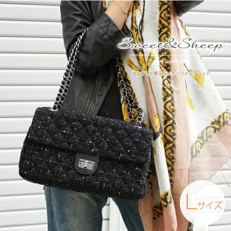 A lot of quilting chain lam tweed bag large size ◆ tweed bag / back / chain back / elegant / size grain / /Sweet & Sheep
