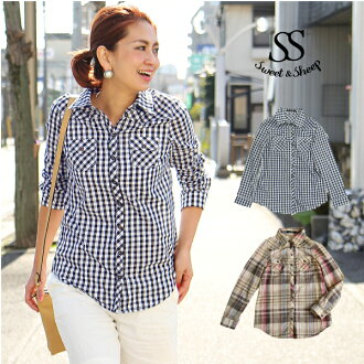 Flannel shirt check long sleeve red orange Blue Ladies Sweet &Sheep ◆ nel check shirt