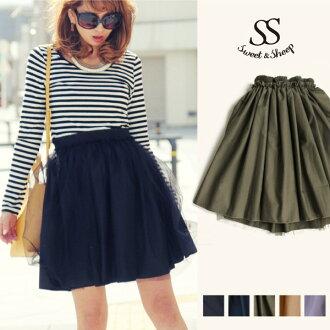 Bottom soot cart flare reversible Lady's Sweet & Sheep select ◆ reversible waist rubber tutu flare skirt