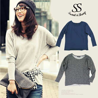 Trainers, tops, long sleeve, plain, ladies, Sweet &Sheep original limited product sweatshirts Dolman tops ◆