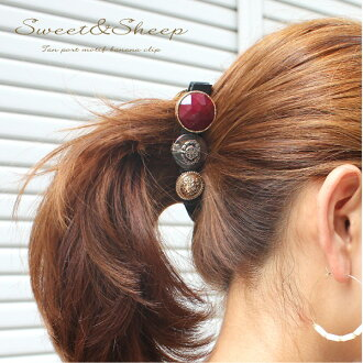 Gold buttons stone button hair stop convenient clip heaakuse banana clip Womens accessory Accessories ◆ button motif banana clips