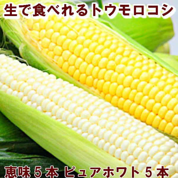 北海道富良野産2色の とうもろこし セット ピュアホワイト5本・恵味5本【10P03Dec16】