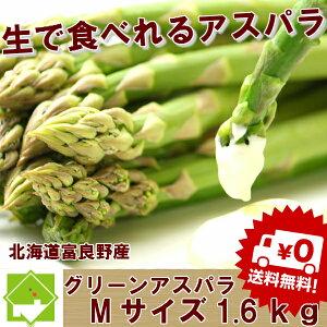 アスパラガス グリーン 最高級秀品 Mサイズ 1.6kg 北海道富良野産 『生で食べれる』【送料無料】 【ご予約販売】 【10P03Dec16】