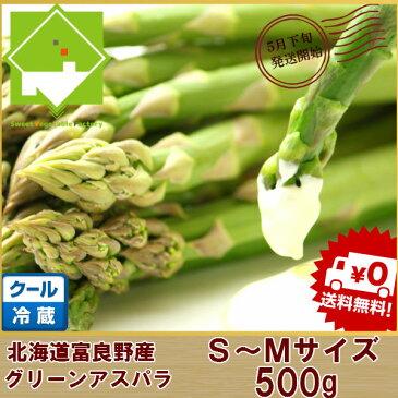 アスパラガス 北海道富良野産 グリーン 秀品 S〜Mサイズ500g 送料無料 朝もぎ 生で食べられる 別途送料加算される地域あり