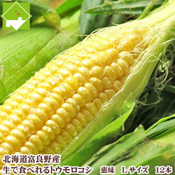 ご予約販売【生】で食べれるトウモロコシ 北海道富良野産  恵味【 Lサイズ12本入り】 送料無料【10P03Dec16】
