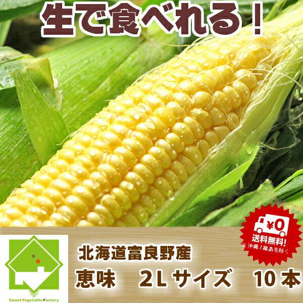 北海道富良野産 とうもろこし 恵味 秀品 2L 10本 【送料無料】【DEAL】