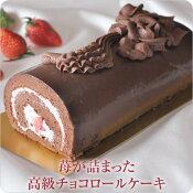 苺が詰まった高級チョコロールケーキ