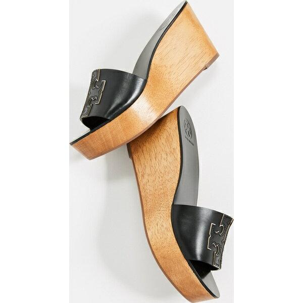 (取寄)トリーバーチ レディース アイネス 80mm ウェッジ スライド Tory Burch Women's Ines 80mm Wedge Slides PerfectBlack Silver