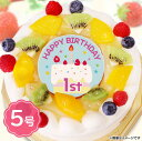 1歳 誕生日ケーキ HAPPY 1st BIRTHDAY 生クリーム フルーツたっぷり マカロン ろうそく付 5号サイズ(4〜6名分) バースデーケーキ プレゼント 送料無料