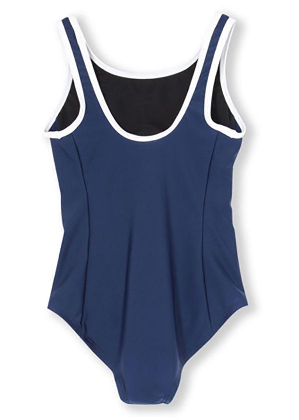 【あす楽対応】ジュニア120~140サイズ!AP3321adidasアディダススクール水着ジュニア女子子供用ワンピースキッズ水泳プールネイビー