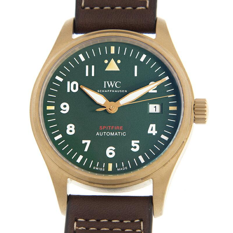 [新品]IWCパイロットウォッチオートマティックスピットファイアIW326802ブロンズ/ブラウンレザーグリーン文字盤自動巻き39mm腕時計