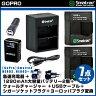 【GoPro】Smatree GOPRO HERO3、HERO3+用 急速充電器 +1290mAh大容量バッテリー2個+ウォールチャージャー + USBケーブル +シガーソケットプラグ+ヨーロッパプラグ変換 7点セット S-8