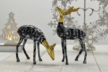 スペイン製 真鍮 ブラス トナカイ置物 ペア オブジェ クリスマス 2個セット