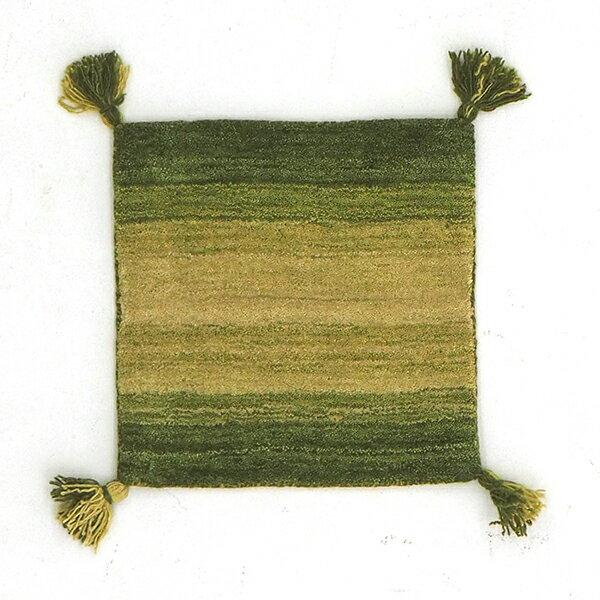 送料無料 ギャッべ チェアパッド 座布団 シートクッション ウール100% Gradation グリーン 約40×40cm オールシーズン クッション おしゃれ かわいい 北欧