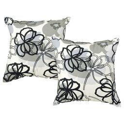 日本製 トスクッション2P(フルール) ブラック 2個入り おしゃれ かわいい 上品 キレイ 北欧 カントリー 国産 デザイン ヨーロッパ 花柄 フラワー柄 モノトーン ひとり暮らし