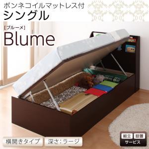 開閉&深さが選べるガス圧式跳ね上げ収納ベッド【Blume】ブルーメ・ラージS【横開き】ボンネルコイルマットレス付