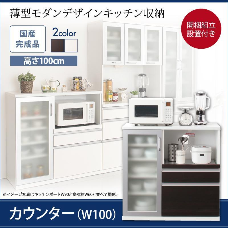 組立設置 奥行41cmの薄型モダンデザインキッチン収納 Sfida スフィーダ カウンター W100 *500026765:家具のショウエイ