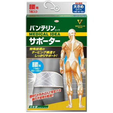 バンテリンコーワサポーター腰用 シャイニンググレー 大きめ Lサイズ(1枚入)