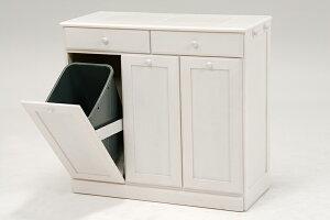 送料無料 ダストボックス カウンター 3分別 キッチン キッチンカウンター ワゴン キャスター付き 分別 木製 おしゃれ ゴミ箱 ごみ箱 完成品 25Lペール ごみ箱収納家具 ダストBOX 台所用 シンプル モダン ホワイトウォッシュ 白 MUD-6723WS