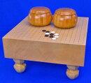 囲碁セット新桂4寸足付碁盤セット(蛤碁石30号・木製碁笥欅特大)