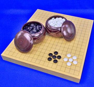 囲碁セットヒバ1寸5分卓上碁盤セット(ガラス碁石竹・栗碁笥特大)