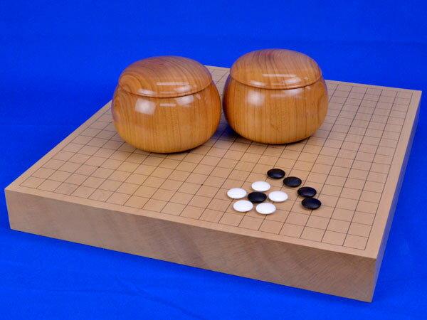 囲碁セット 新桂2寸一枚板卓上碁盤セット(蛤碁石28号・桜碁笥大):将棋囲碁専門店の将碁屋