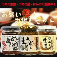 「うめぇ生姜」かつお風味+「にんにく生姜みそ」+「うめぇ醤」