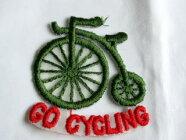 自転車の刺しゅうワッペンアイロン接着