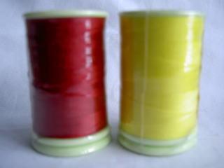 フェザナミシン糸 #50 23,210 赤、黄色        50番手ミシン糸
