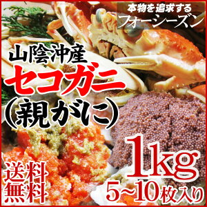 限定の貴重な蟹!!松葉がにのメスセコガニ(親がに・勢子がに)【訳あり】[生]1kgセット(5-10枚...