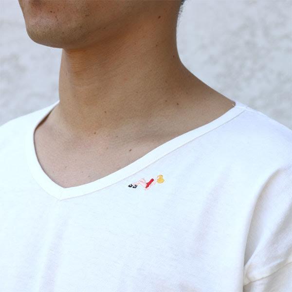 【REMIRELIEF:レミレリーフ】RN18229306KT別注16/-天竺刺繍ワンポイントVネックTEE(フラガール)