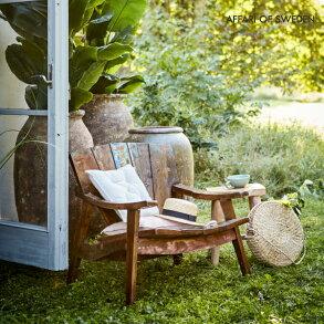 ガーデンチェア完成品木製おしゃれ北欧イージーチェアリビング1人掛けリゾートソファチェアチェアーソファー椅子屋外ベンチガーデンエクステリアカフェテラスバルコニーベランダウッドデッキ組み立て不要affari