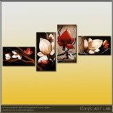 新デザインアートパネル登場!フラワーシリーズ絵画油絵/手描き(肉筆)の花の絵話題集中のモダンアート4枚組ロビーリビングの壁に医療/宿泊施設飲食店に飾るディスプレイ赤朱色red絵画
