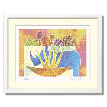 かわいい絵 絵画 インテリア 壁掛け 額入り 絵 かわいい サボテン風水 トイレや玄関に飾れる小さめサイズ【サイの置物とサンセベリアと多肉植物寄せ植え】