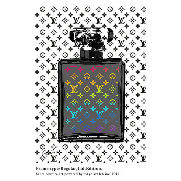 メゾンブランドアートLV MONOGRAM No5 リミテッドエディション 670mm 900mmHANDMADE FRAMEチョコレートブラウンメゾンドアート コンテンポラリーアート絵画ブランド C.Garcia 額縁 手塗り:壁掛けアート専門店東京アートラボ
