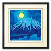 赤の富士『時刻や季節によって、様々な色(表情)を見せる富士山』和風絵画版画和モダンなインテリアアート壁掛けフックセット桜さくら山風景錦鯉額装済み完成品