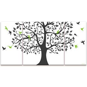 【お買物マラソン】絵画 インテリア USART ファブリックパネル TREE&BIRD W60cm H30cm D2cm SIZE/M 3枚セット 絵 新築 壁絵 飾り 装飾 壁 軽量 軽い