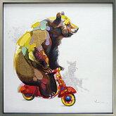 絵画壁掛け壁に飾る絵画ゆっくりいこうよかわいい熊(くま)の絵一枚ずつ手描きで仕上げています玄関ダイニング業務用インテリアアートとして大きいサイズの油絵抽象画風景画【額付き】